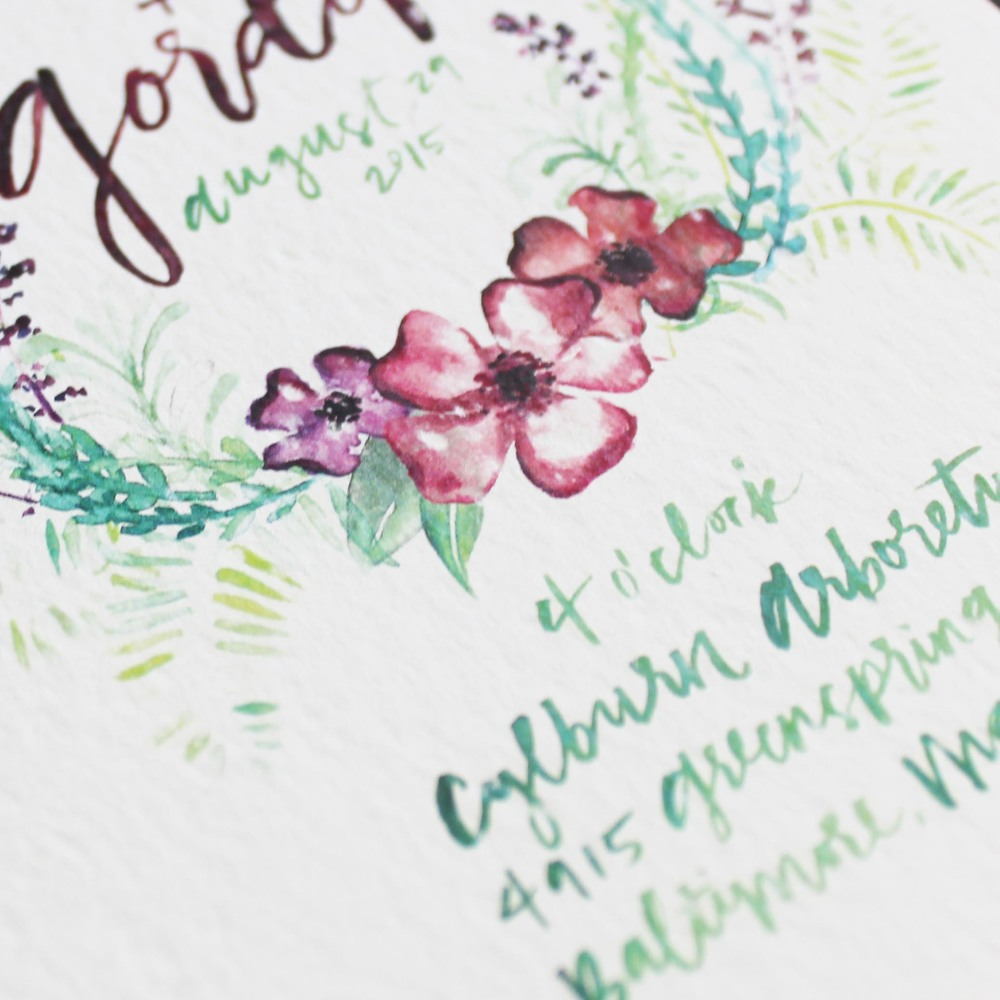 Watercolor Bohemian Floral Wedding Invitations by Ashley Bush