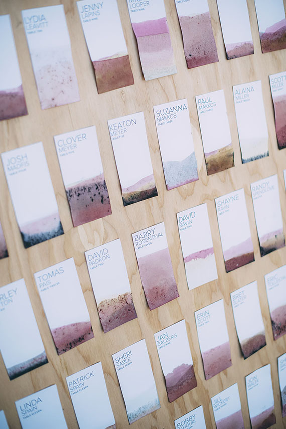 Dip Dye Escort Cards by Almost Makes Perfect