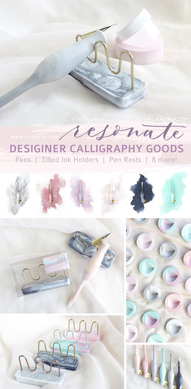 Affordable, beautiful calligraphy goods! Oblique and straight marble carrot pens in gray, rose, pastel, cream, navy and mint. Tilted ink holders and ink jars in blush, and metallic pen rests!