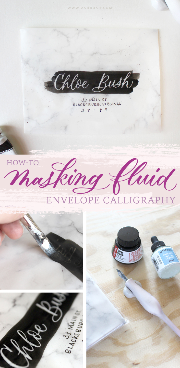 Masking Fluid Envelope Calligraphy — Ash Bush