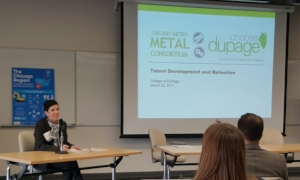 Irene Sherr presenting CMMC at the Choose DuPage manufacturing panel on talent development and retention at College of DuPage