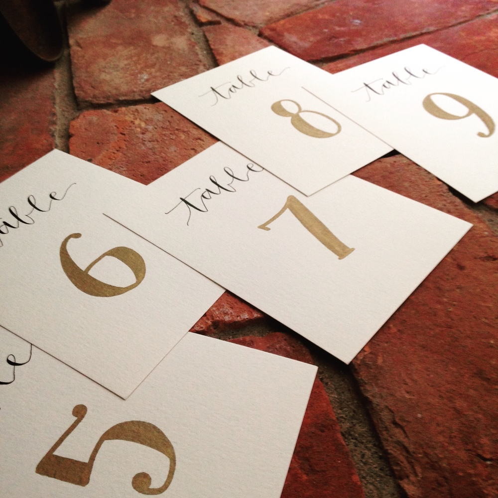Yennygrams Gold and White Table Numbers