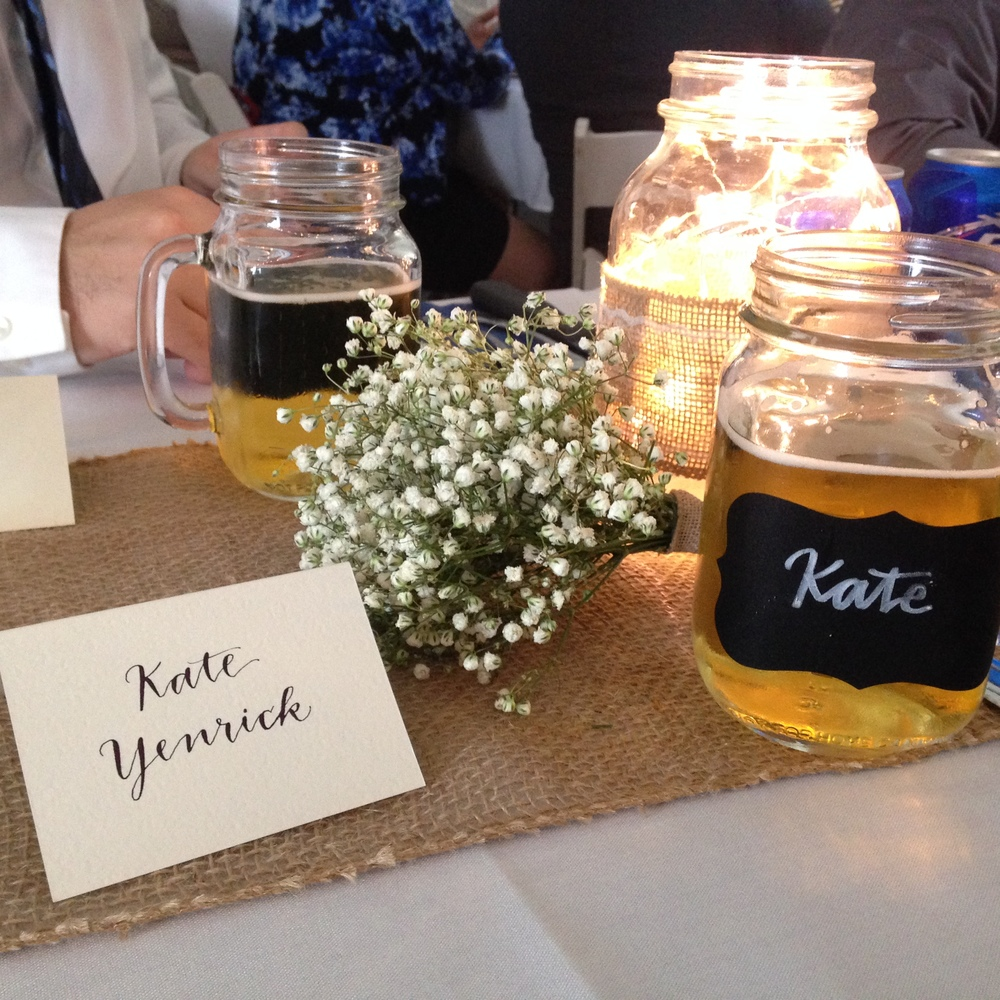 Yennygrams Place Cards and Mason Jar