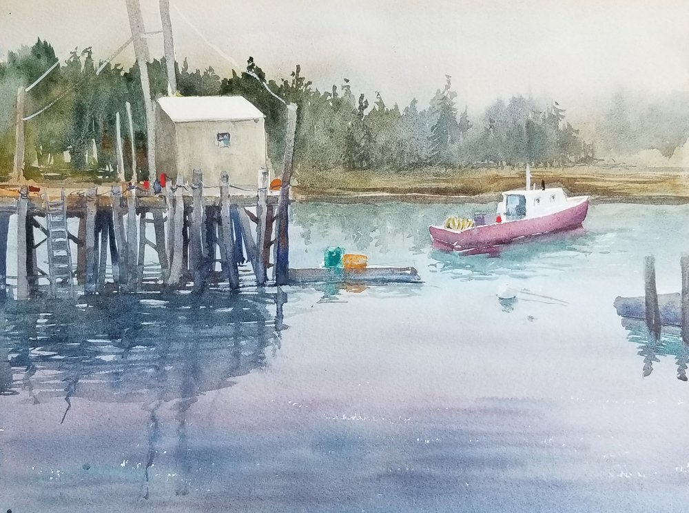 Coastal Maine harbor view-12x16 by Nancy Boyle.jpg