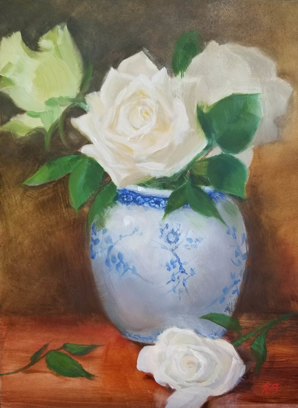 photo of White roses in a blue and white vase by Nancy Boyle.jpg
