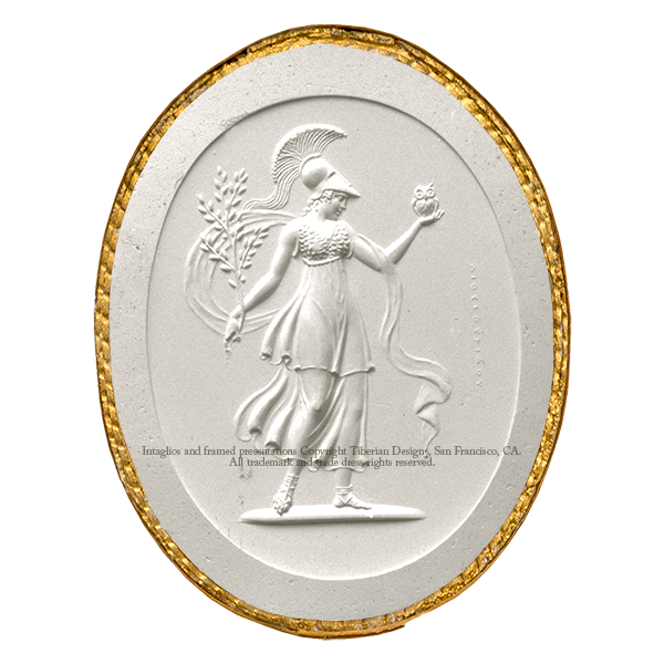Tiberian Intaglio No. 1  Minerva with her principal attributes, the olive branch and owl.
