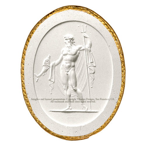 Tiberian Intaglio No. 3   Neptune in a dignified attitude. In his right hand he holds a dolphin, and in the left a   trident  .