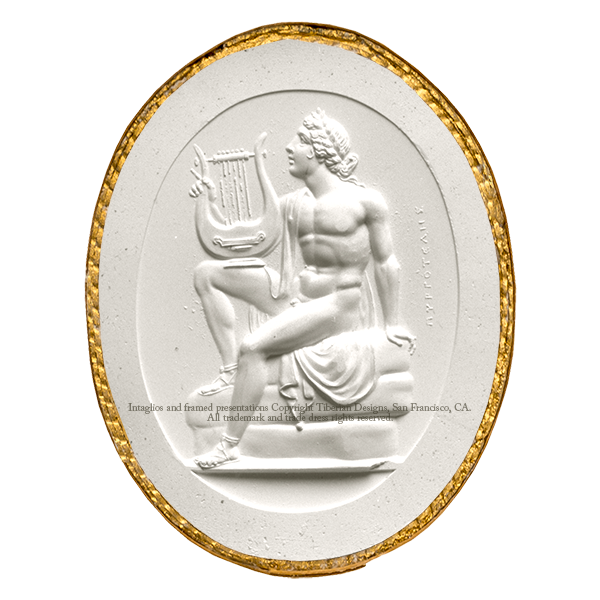 Tiberian Intaglio No. 9  A sitting figure of Apollo, in the attitude of singing to his lyre.