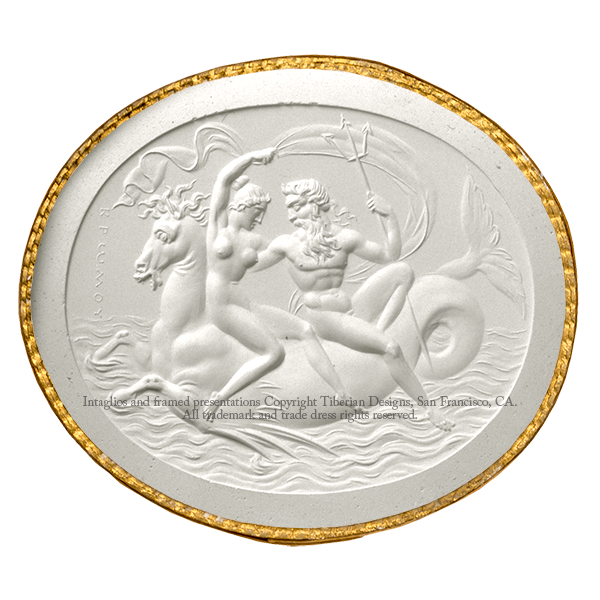 Tiberian Intaglio No. 12 Neptune and Amphitrite seated on a sea horse.