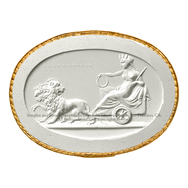 Tiberian Intaglio No. 18 Cybele in her car drawn by lions.