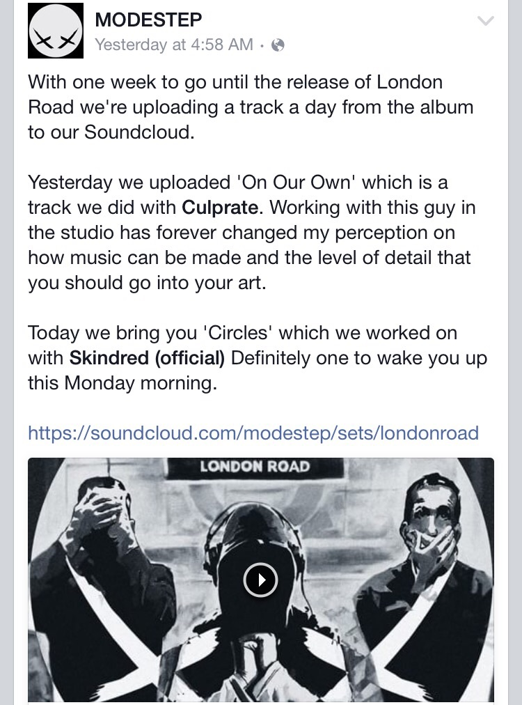 Modestep Facebook Post