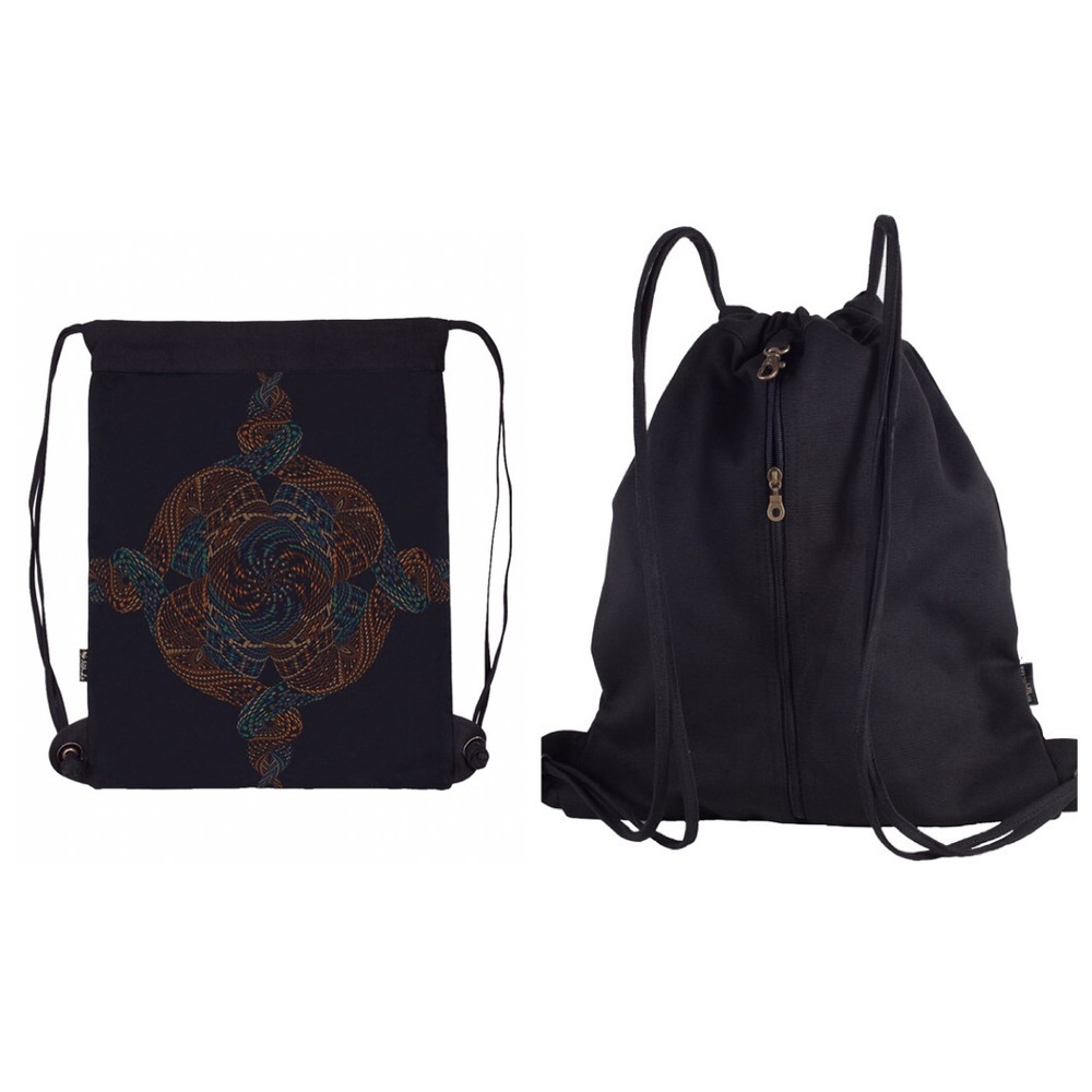 Canvas Sack Bag, Mandala Bag, Drawstring