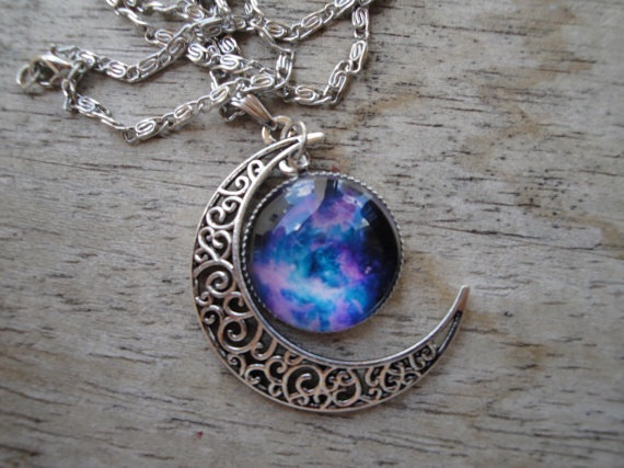 Galaxy and Moon Swirl Pendant Necklace
