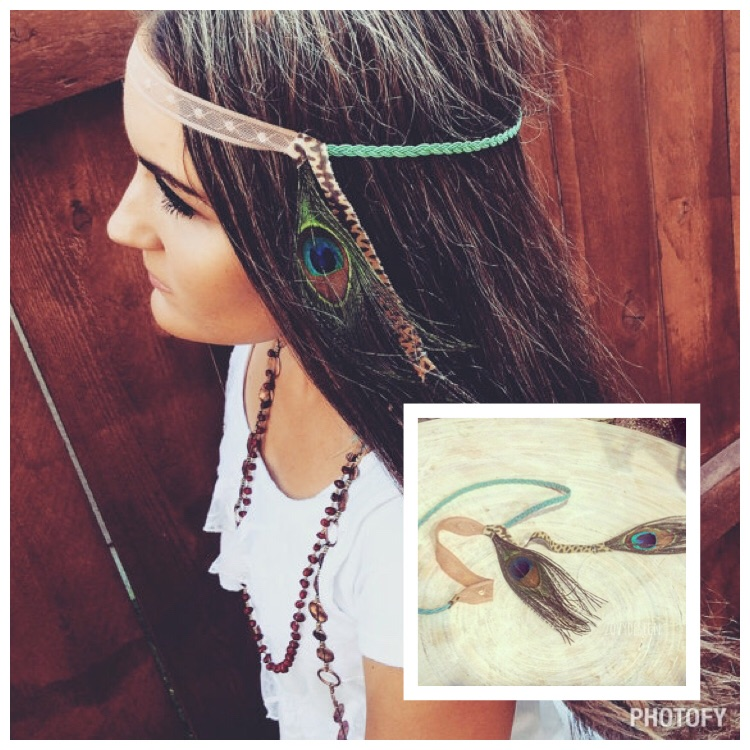 Double Peacock Boho Headband, Mint Braided Peacock Headband, Hippie Headbands