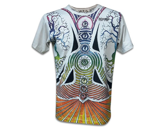Yoga Reiki Seven Chakra Art Yoga Boho Hippie Bleach Cotton T-Shirt
