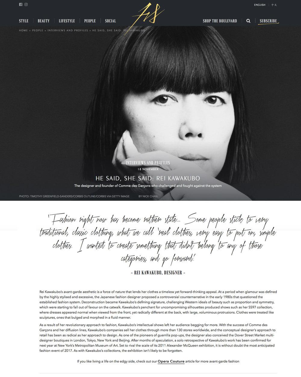 Published | Fashion Statement | Rei Kawakubo