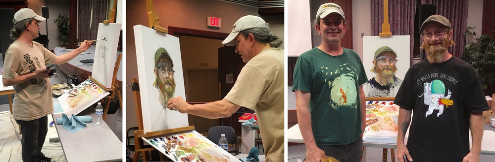 Photos by Loraine Flegal of Ron Lemen's demo of Keith Nelson at The Fantastic Workshop 2016