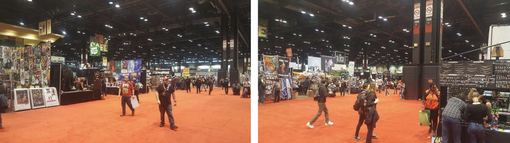 Photos from C2E2: looking at my booth and looking out from the booth.