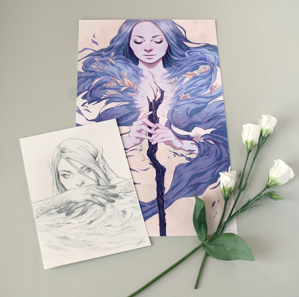 "PATREON GIVEAWAY: On 1 June one of Djamila Knopf's patrons will receive this original  #mermay  sketch & a hand-embellished ""Ace of Wands"" print  (artist proof) . Sign up to get a chance to win  http://patreon.com/djamilaknopf"