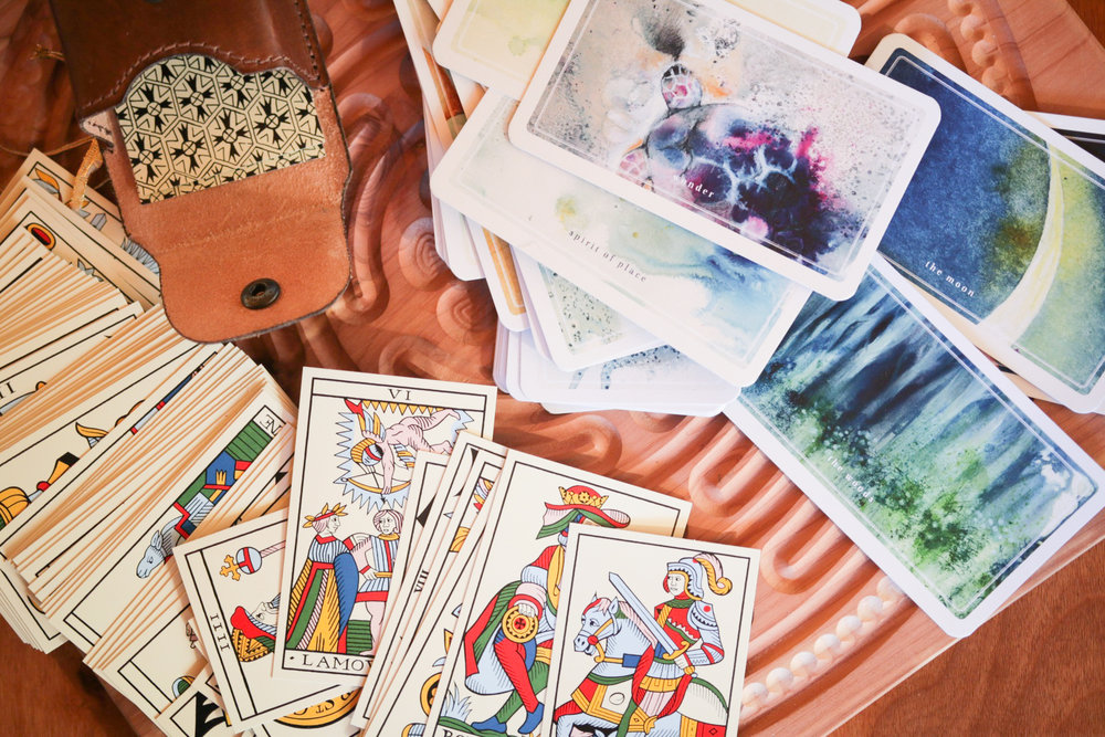 Pictured: tarot Jean Noblet by Jean-Claude Flornoy and A Deck for Wonder-Walking