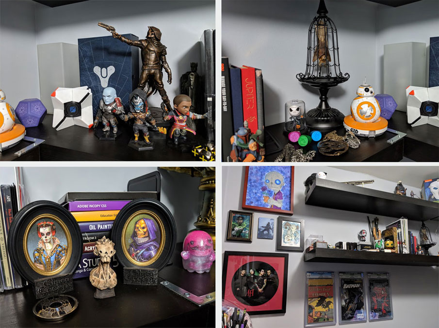 Some items sprinkled throughout my office. Destiny is one of my favorite games. Bruce the Bat keeps me company while I work. Cameo Creeps and their dead friends. Wall of inspirational items I own.