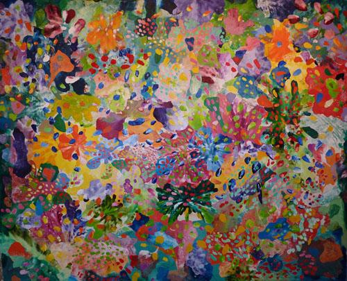 Matira Flowers. Oil on Linen. 190H x230cm