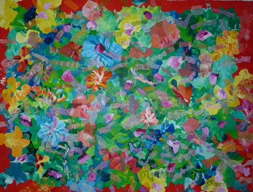 Moorea Flowers. Oil on Linen.220H x320cm