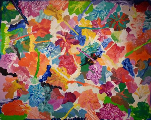 Orange, Blue to White. Oil on Linen. 195H x230cm
