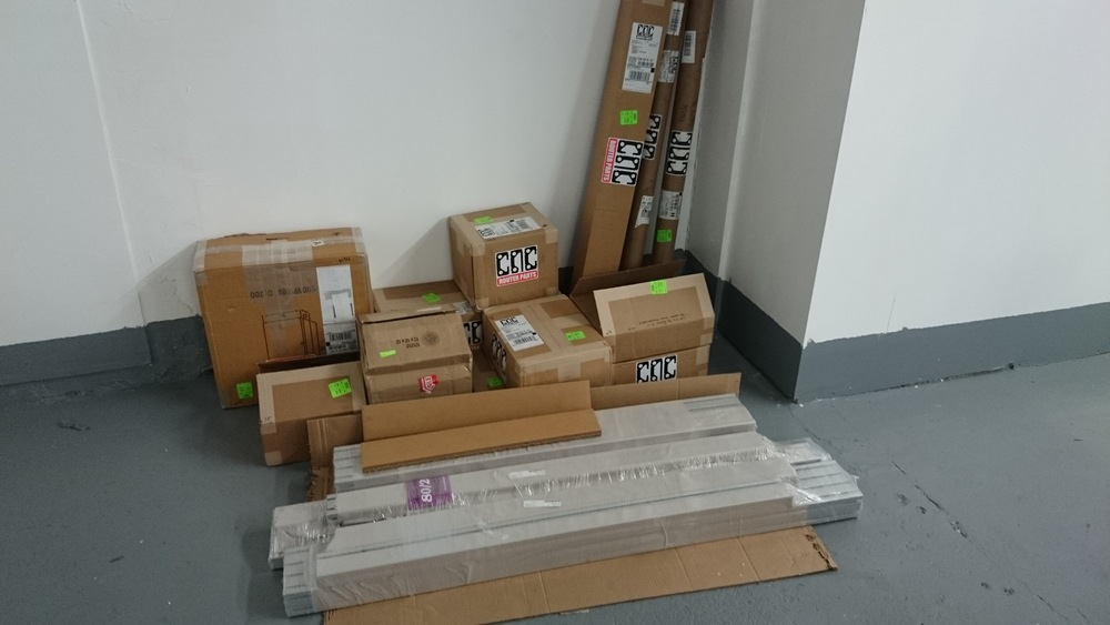 All 15 boxes of CNC parts have now arrived from cncrouterparts.com, and are awaiting assembly.
