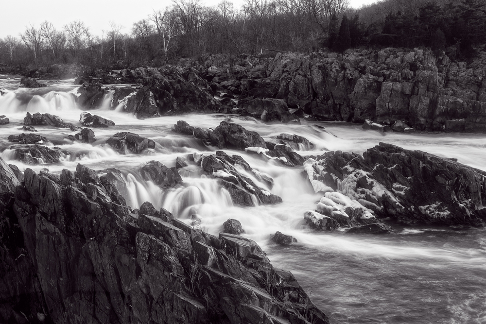 Great Falls at Sunrise in Black and White