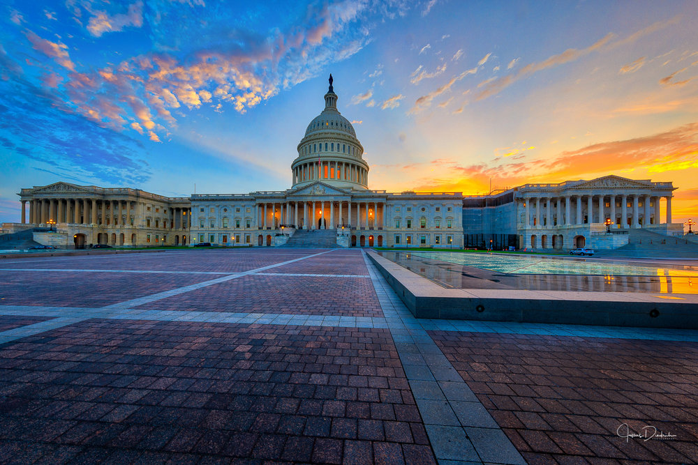 This is about an hour later as the sun has just set behind the Capitol.
