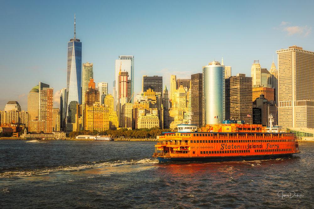 Here is the ferry leaving Manhattan.