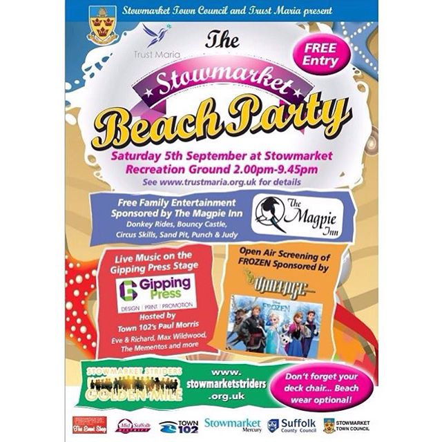 The Trust Maria Beach Party this Saturday 5th September, we hope to see you all there 😀 #stowmarket #charity #suffolk