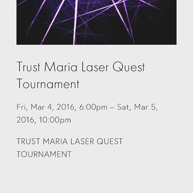 Trust Maria Laser Tag Tournament this Friday with 2 team spaces left and 10 per team why not register now? £10 per person entry fee  Visit http://www.trustmaria.org.uk/events #charity #fundraising #laser #tag  http://www.trustmaria.org.uk/events