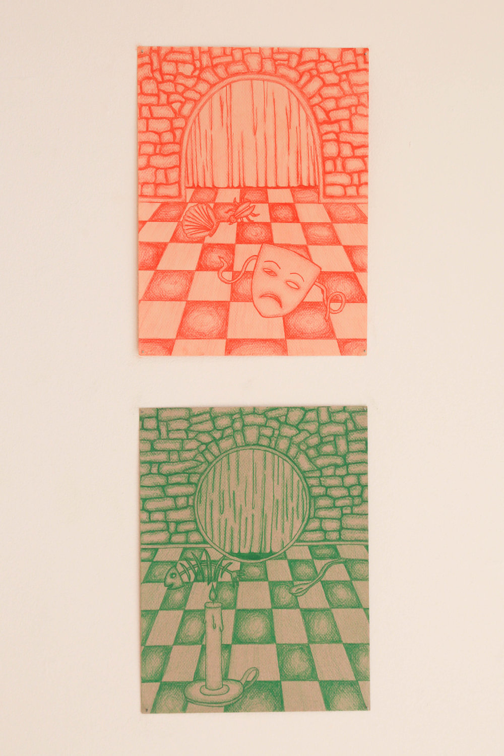 "Game 1 and Game 2 , 2017, 9"" x 12"", Colored Pencil on Paper"