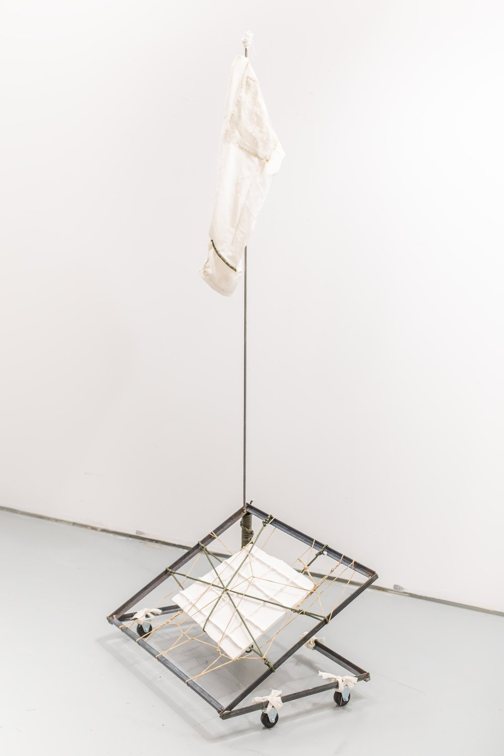 "Rover,  2018, Steel, ceramic, leather cord, nylon rope, cotton, 70"" x 30"" x 24"""