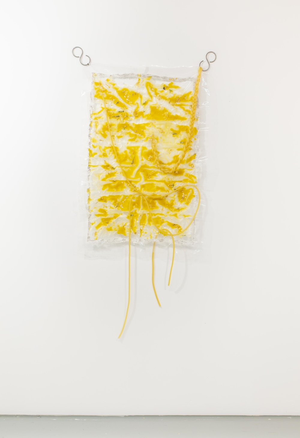 "Chaleur Drama , 2018, Plastic, beeswax, latex surgical tubing, plant matter, s-hooks, 64"" x 32"""