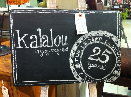 kalalou chalkboard with 25 year anniversary badge