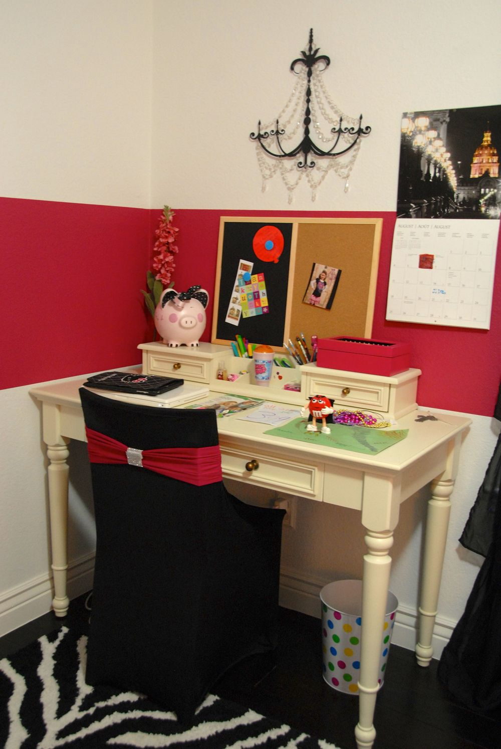 A desk for school work (notice the zebra rug)