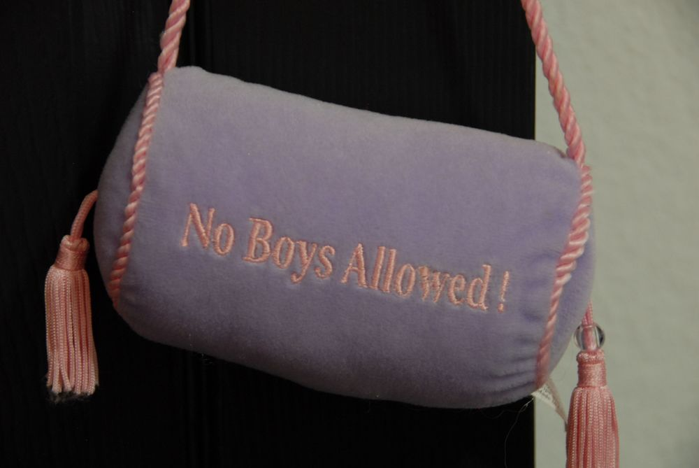 The best accessory in the room... Her No Boys Allowed door pillow.