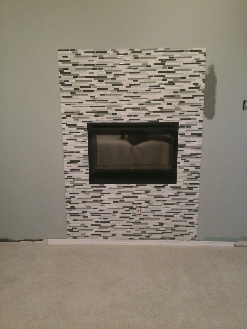 The fireplace wall