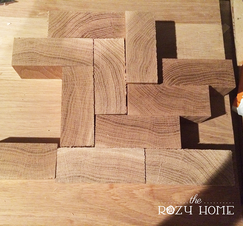 DIY Herringbone Wood Countertops