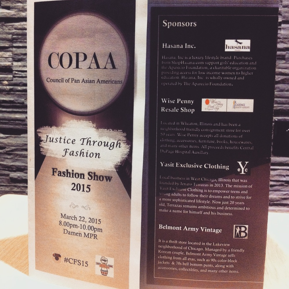 "Yasit Exclusive Clothing's  first ever fashion show at ""Justice through fashion"", hosted by COPAA. At Loyola University Chicago."