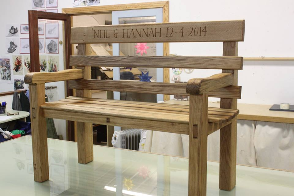 Complete Bench mad as gift for Bride & Groom at York Art & Crafts Stag Do