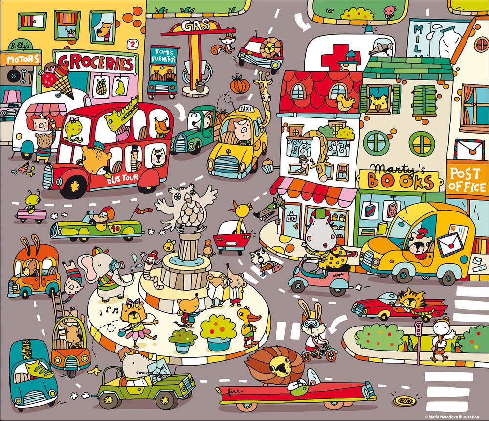 Busy Town Puzzle — Maria Neradova Illustration