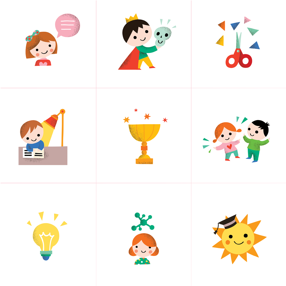 Set of icons for an educational book for kids will go straight to my drawer, but my drawer is a very complex project on its own, so there will be some use for these babies I am sure! Is it lunchtime already?