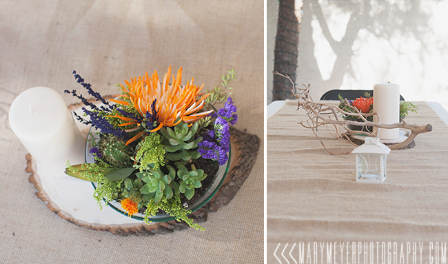 branch and succulent centerpiece