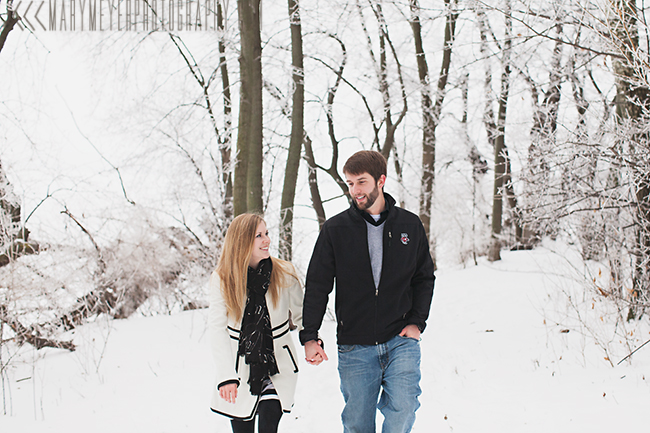 snowy wisconsin engagement photo