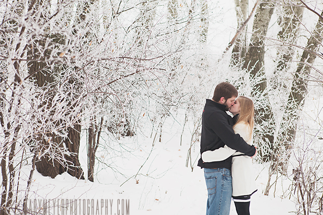 snowy wintery engagement photography