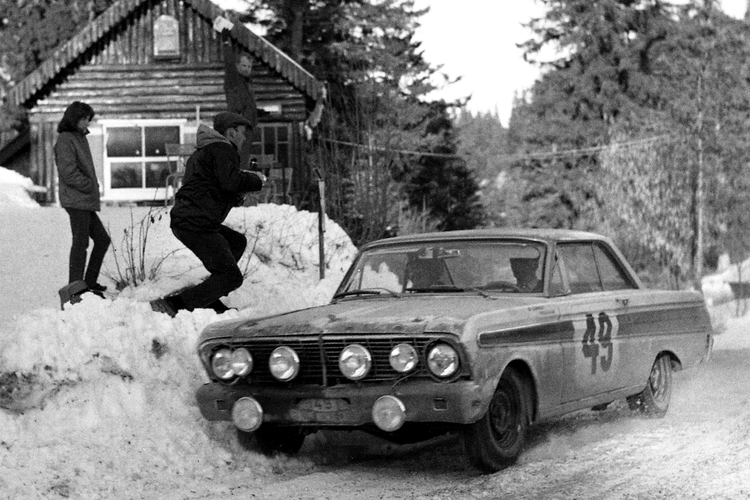 In Alan Mann Racing's first major contract for Ford, Falcons were entered in the Monte Carlo Rally, first among which was the Bo Ljungfeldt/Fergus Sager car which set the fastest time on every stage.